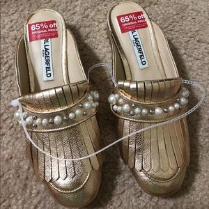 NEW Karl Lagerfeld Odetta Gold Slip On Mule Slide